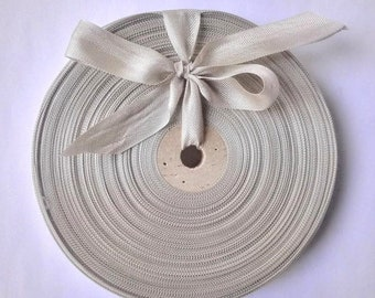 Vintage 1930's-40's French Woven Ribbon -Milliners Stock- 5/8 Inch Cloud Gray