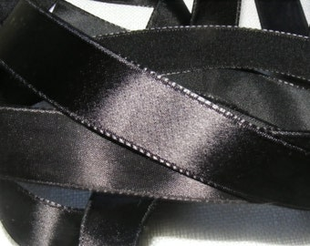 Vintage 1930's-40's French Satin Ribbon 11/16 Inch Gorgeous Jet Black