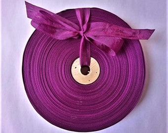 Vintage 1930's-40's French Woven Ribbon -Milliners Stock- 5/8 Inch Gorgeous Aubergine