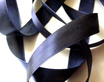 Vintage 1930's-40's French Satin Ribbon 11/16 Inch Gorgeous Navy Blue