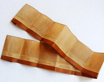 Antique Victorian Era Sash Ribbon 2 13/16 Inch Golds