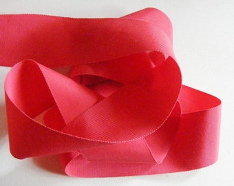 Vintage 1930's French Petersham Edge Grosgrain Ribbon 2 1/16 Inch Soft Coral Red
