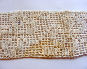 "Vintage 1940's Crochet Lace Trim 2 3/4"" Ecru Ribbons and Bows Design"