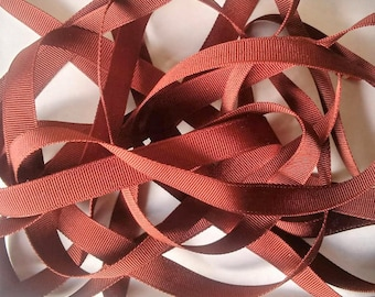 Vintage 1930's-40's French Silk Grosgrain Ribbon Milliners Stock 5/16 Inch Bright Rust
