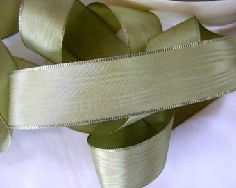 Vintage 1920's French Moire Ribbon 15/16 Inch Gorgeous Sage Green