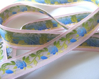 Vintage 1940's French Jacquard Silk and Rayon Embroidered Ribbon 13/16 Inch Blue Roses