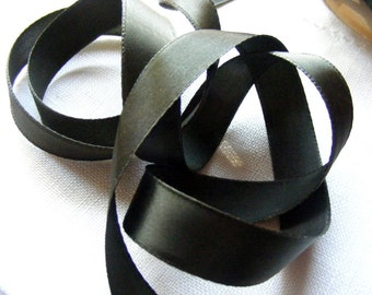 Vintage 1930's-40's French Satin Ribbon 3/4 Inch Gorgeous Espresso Brown