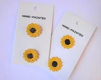 Vintage 1960's Metal Sunflower Buttons 3/4 inch