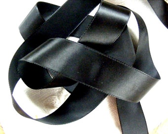 Vintage 1940's French Satin Ribbon 15/16 inch Gorgeous Jet Black