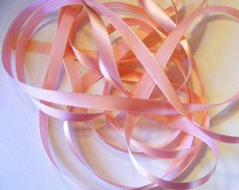 Vintage 1940's French Satin Ribbon 7/16 Inch Gorgeous Peony Pink