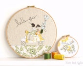 "Let's Go - Personalised Embroidery Hoop Art - yellow & green - large 10"" hoop"