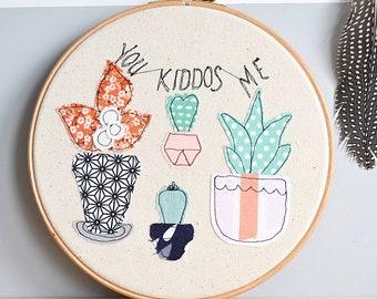 "LAST ONE! Personalised Cactus Family Embroidery Hoop Art Picture - 8"" hoop"