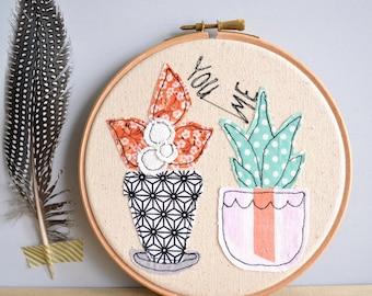 "LAST ONE! You Me Cactus Personalised Embroidery Hoop Picture - 6"" hoop"