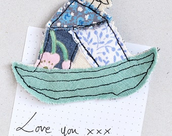 Embroidered Boat House Magnet