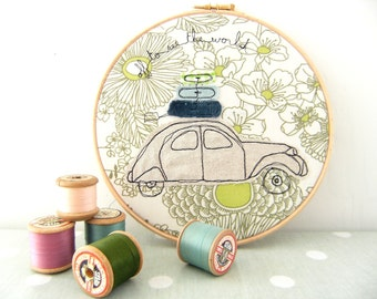 """Off to see the world - Personalised Embroidery Hoop Art - Textile Picture of a 2CV Car in green & blue - 8"""" hoop"""