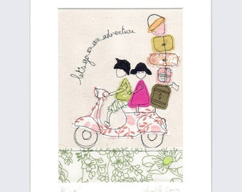 LAST ONE! Let's Go - Mounted Embroidery Picture - pink and green - 10x8