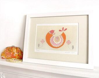 Queenie - Limited Edition Fine Art Print - A4 Giclee Print - Scandinavian style, Orange, pink, stone, white.