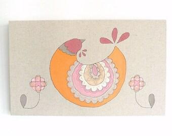 Queenie - Original Embroidery Art Canvas - Scandinavian Textile Artwork - Orange, pink, raspberry