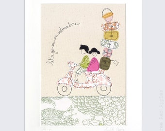 Let's Go - Personalised Mounted Embroidery Picture - pink and green - 14x11