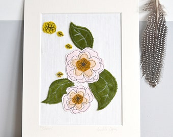 LAST ONE! Blooms Mounted Embroidery Picture - velvet green and pink - 10x8