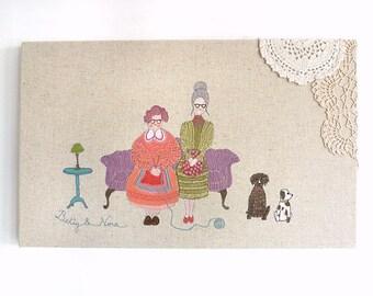 Betty & Nora - Original Embroidery Art Canvas - Figurative Textile Artwork - Purple, orange, turquoise, olive