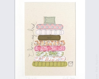LAST ONE! I Love my Bed - Mounted Embroidery Picture - pink, orange, green - 14x11