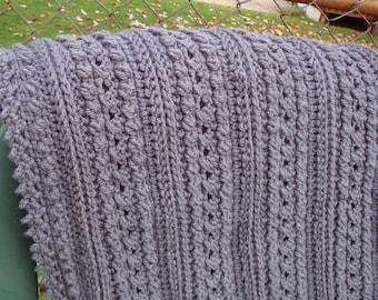 Crochet Throw, Hand Crochet Afghan, Crochet Blanket, Afghan, Crochet Bedspread, Home Decor Gray Afghan, Crochet Items, Aran Isle Pattern