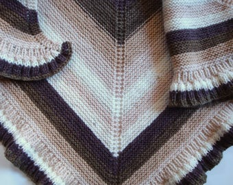 Knitted Triangle Shawl Wrap Cover up Bolero Shrug Knit Shawl Browns Capelet Cape Scarf Cowl Gift for her Hand Knit Shawl All Season Acrylic