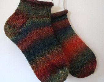 Handmade Wool Ankle Socks, Footwear, Footies, Unisex Hosiery, Christmas Present Slipper Socks, Support Stockings, Large Socks, Casual Sock