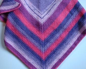 Hand Knit Shawl, Colorful Striped Wrap, Burgundy, Violets Red Shawl, Neck Scarf, Triangle Shawl, Multi Color Striped Knit Triangle Scarf