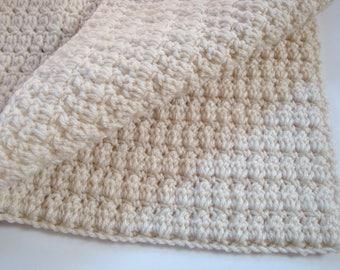 Crochet Baby Blanket, Shower Gift,  Unisex Childrens Creme Color Afghan, Stroller Blanket, Newborn Blanket, Photo Prop Blanket, Baby Blanket