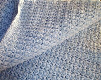 Blue Baby Blanket Crochet Childrens Afghan Crib Bedding Stroller Boys Blanket Shower Gift Christmas Present for Baby Photo Prop
