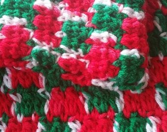 Christmas Baby Afghan, Crochet Blanket, Green Red, White Acrylic Crib Cover, Christmas Present, Crochet Blanket, Crochet Afghan
