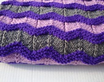 Nursery Blanket, Crib Blanket, Stroller Afghan, Baby Blanket, Shower Gift, Knit Ripple Pattern, Lightweight, Hand Knit Baby Items