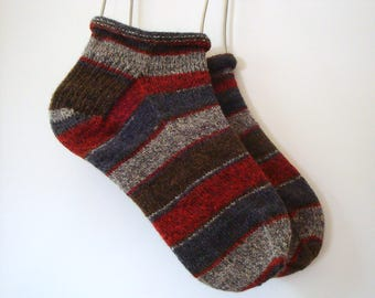 Warm Winter Striped Knitted Socks,  Hand Knit, Large Size, Stretchable, Gray, Red, Brown Rolled Cuff, Unisex Wool Footies