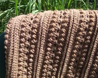 Crochet Afghan, Crochet Blanket, Crochet Throw, Crochet Bedspread, Brown, Home Decor Afghan, Crochet Items, Heirloom Afghan, Aran Isle