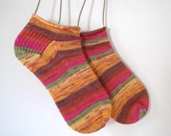 Anklets, Hand Knit Bright Colored Medium Short Socks