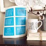Rae Dunn Inspired Farmhouse Stencils | Shiplap, Farmhouse, Antiques, Chippy Paint, Home Sweet Farmhouse, Magnolia | Coffee, Mug, Coffee Bar