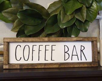 Coffee Bar Framed Wood Sign   Farmhouse Style, Rustic, Rae Dunn