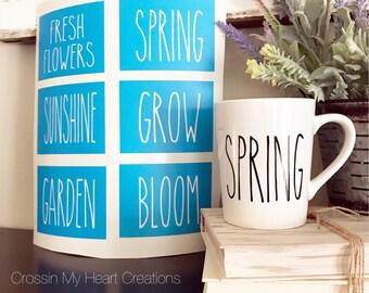 Rae Dunn Inspired Spring Stencils   Fresh Flowers, Spring, Sunshine, Grow, Garden, Bloom   Farmhouse, Coffee, Coffee Bar