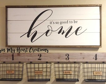 It's so good to be home Framed Wood Sign   Farmhouse style, Home Decor, Entry Sign, Shiplap, Pallet Sign