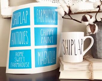 Rae Dunn Inspired Farmhouse Stencils   Shiplap, Farmhouse, Antiques, Chippy Paint, Home Sweet Farmhouse, Magnolia   Coffee, Mug, Coffee Bar