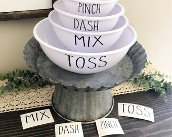Rae Dunn Inspired Mixing Bowl Decals - Set of4 - Farmhouse Style - Kitchen - Baking