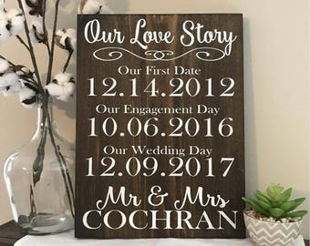 Our Love Story Wood Sign - Wedding - First Date - Engagement - Gift - Christmas - Bride - Groom - Bridal Shower