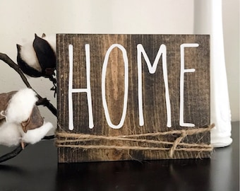 """Rae Dunn Inspired """"HOME"""" Wood Sign - Farmhouse, Home Decor, Wall, Rustic, Weathered, Primitive"""
