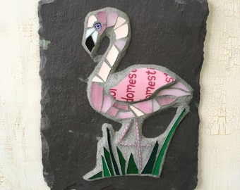 Pink Flamingo Wall Art ~ Mosaic Flamingo ~ Mosaic Bird Plaque ~ Garden Lover Gift ~ Flamingo Gift ~ Tropical Vibes ~ Reclaimed materials