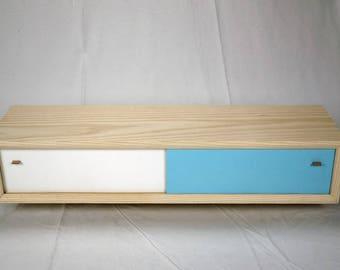 Modern Ash Floating Shelf with white and blue sliding doors
