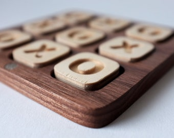 Travel Tic Tac Toe Game - Handmade walnut