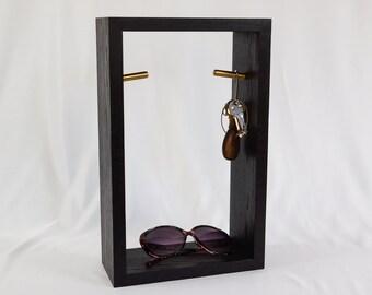 Hanging wall cabinet for hallways - Key and sunglass storage - Blackened Oak