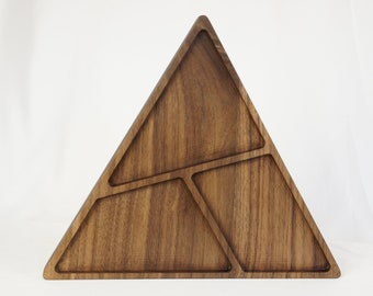 Large Walnut triangle jewelry dish - ring bowl, desk organizer, men's valet